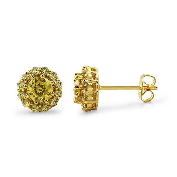 Canary Lemonade CZ Flower Iced Out Earrings