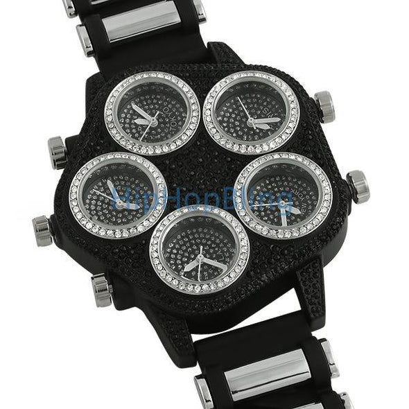 Bling Bling 5 Timezone Watch Black w/ Silver Trim