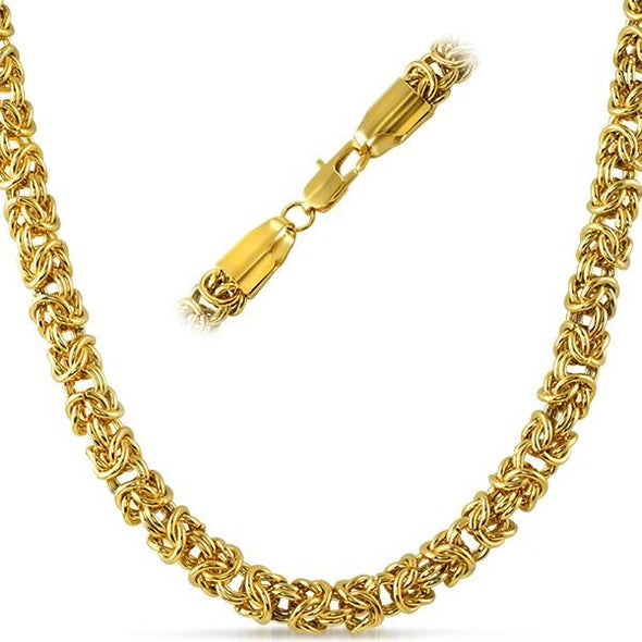Byzantine IP Gold Stainless Steel Chain Necklace 6MM