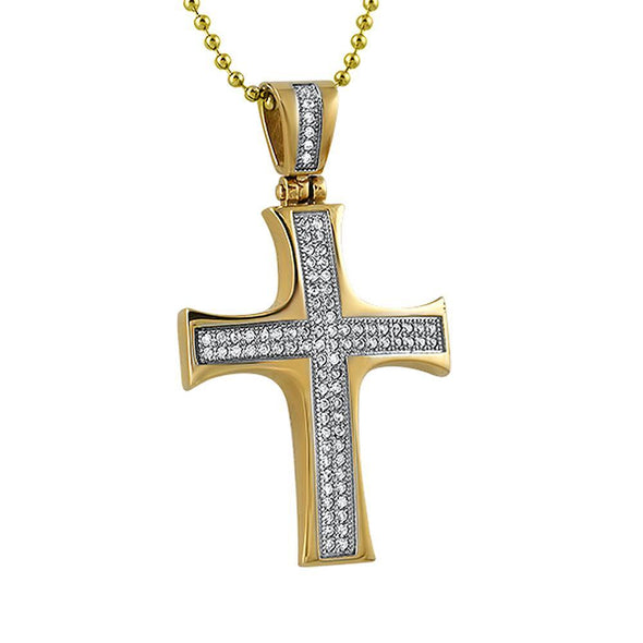 Convex Gold Stainless Steel Mini CZ Cross (Options)