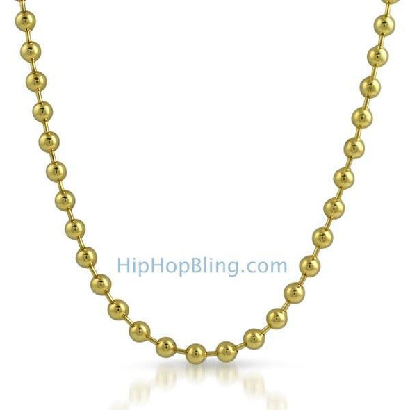 IP Gold Stainless Steel 6mm Bead Chain Necklace