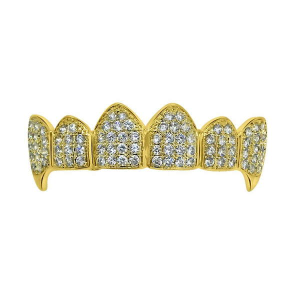 Bling Bling Grillz CZ Vampire Gold Top Teeth