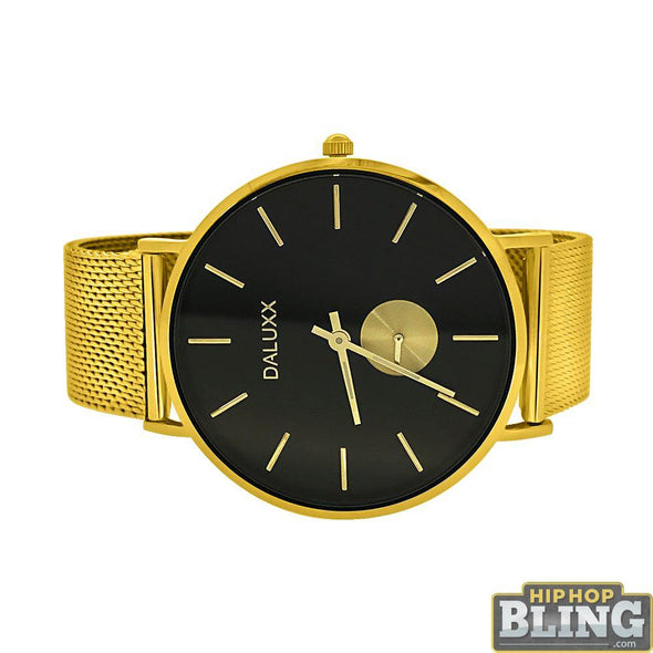 Gold Subdial Mesh Band Watch Black Dial