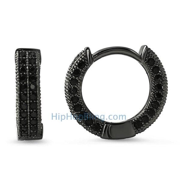 3D Hoop Earrings Black CZ Micro Pave