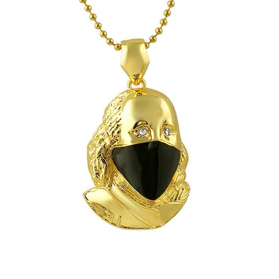 Ben Franklin with Black Mask Gold Pendant