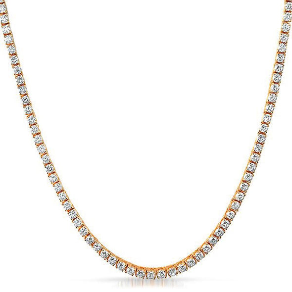 .925 Silver 4MM CZ Bling Tennis Chain Rose Gold
