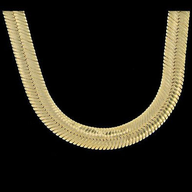 Herringbone 11mm 30 Inch Gold Plated Hip Hop Chain Necklace