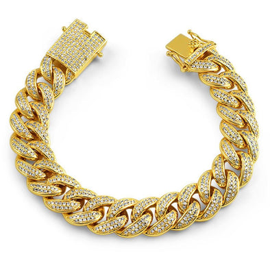 Full CZ Clasp Gold Cuban Bracelet 15MM Thick