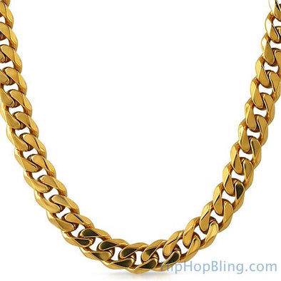 IP Gold 10MM Cuban 316L Stainless Steel Chain Box Clasp