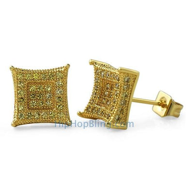 3D Box Kite L Lemonade CZ Micro Pave Earrings