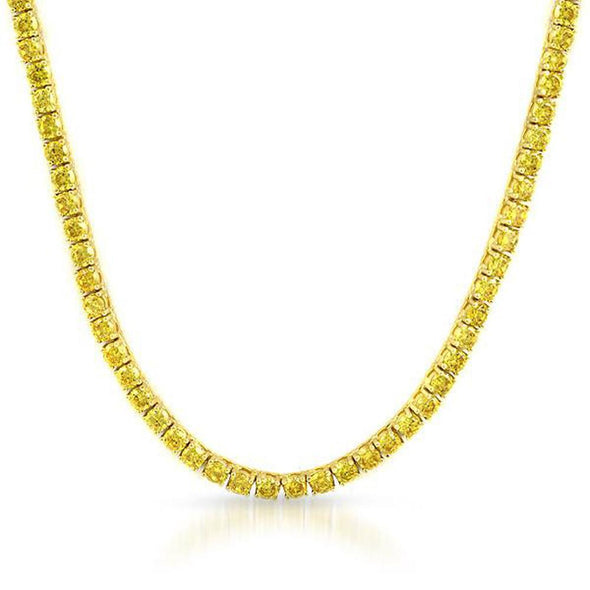 Yellow CZ Gold 1 Row Tennis Chain