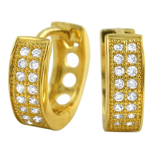 CZ Double Row Gold Hoop Micro Pave Earrings