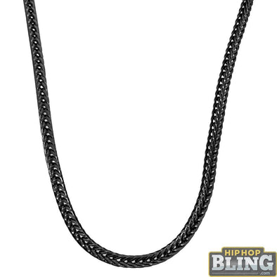 Foxtail Franco Black Chain 3MM Hip Hop Necklace