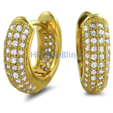 Rounded Hoop Earrings Gold CZ Micro Pave Bling