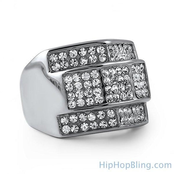Custom Made Iced Out Stainless Steel Ring