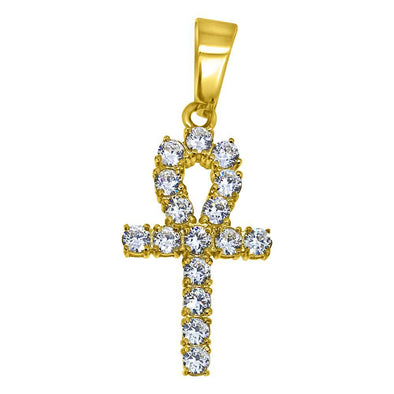 3MM CZ Ankh Cross Gold Stainless Steel Bling Bling