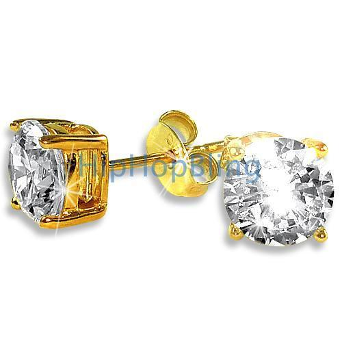 7mm Round Signity CZ Gold Vermeil Solitaire Earrings