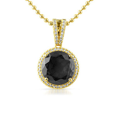 Black Lab Diamond Round Halo Gem Bling Pendant