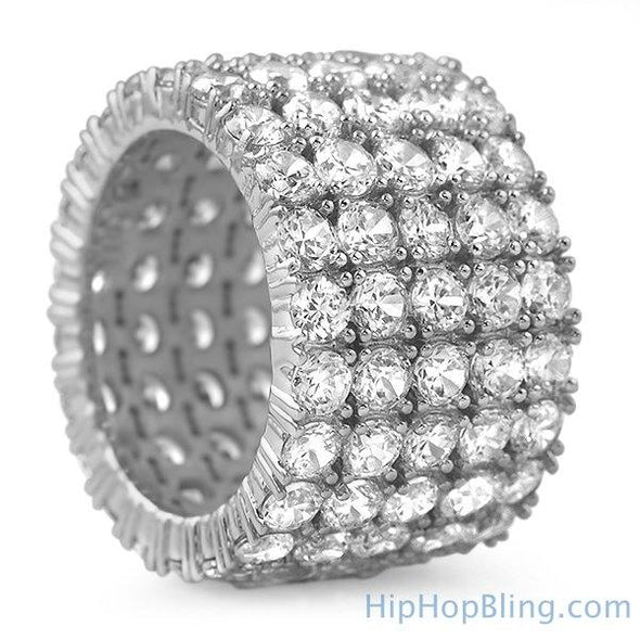 Fat 5 Row 360 Eternity Rhodium CZ Ring