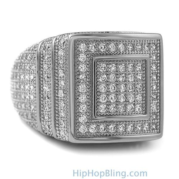 Ice Stacked Rhodium CZ Micro Pave Iced Out Ring