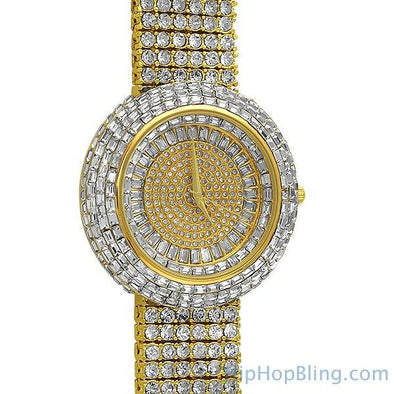 Custom Gold Iced Out Baguette Orbit 6 Row Watch