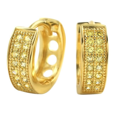 CZ Double Row Lemonade Hoop Micro Pave Earrings