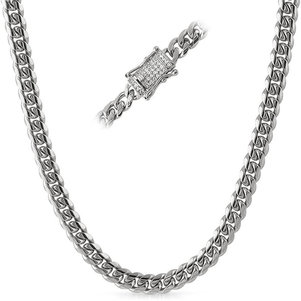 CZ Diamond Lock 8MM Cuban Chain Stainless Steel
