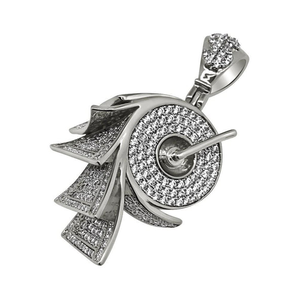 .925 Silver Money on a Roll Rhodium CZ Bling Bling Pendant (Free 36 Inch Bead Chain)