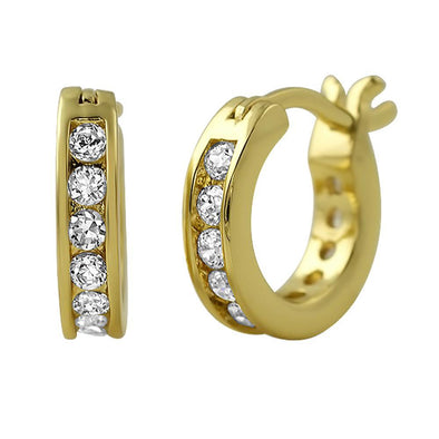 Channel Hoop Gold CZ Earrings