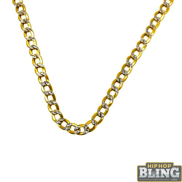 10K Yellow Gold Diamond Cut Cuban Chain Lightweight