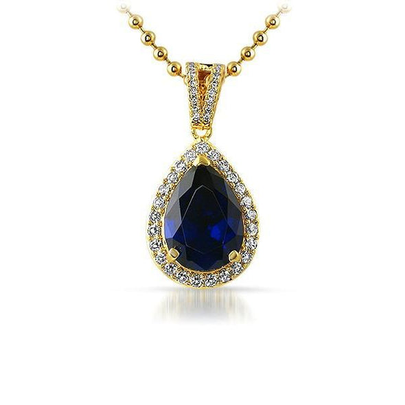 .925 Silver Blue Pear Cut Gem Iced Out Gold Pendant (Free 36 Inch Bead Chain)