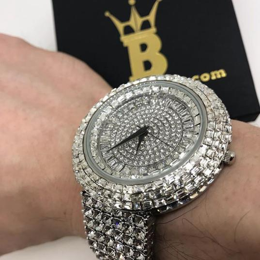 Baguette Iced Out Orbit 6 Row Bling Watch