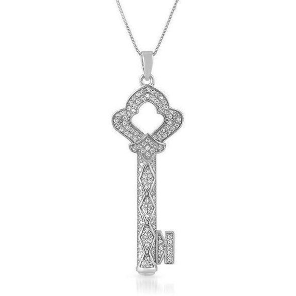 Antique Key CZ Micro Pave .925 Silver Pendant