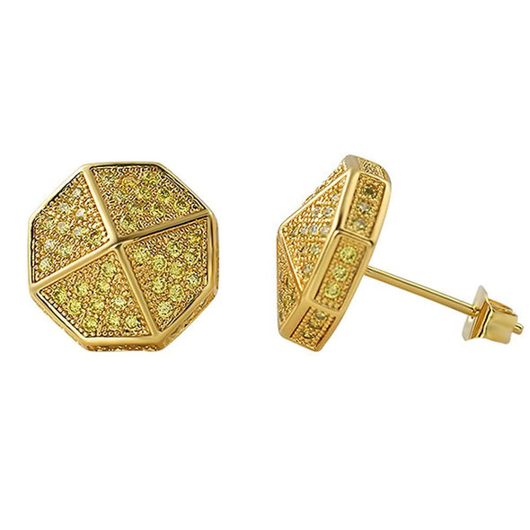 3D Pointed Octagon Lemonade CZ Hip Hop Earrings