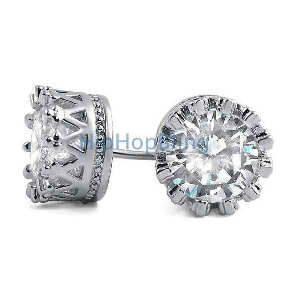 Crown Solitaire Round CZ Bling Bling Earrings
