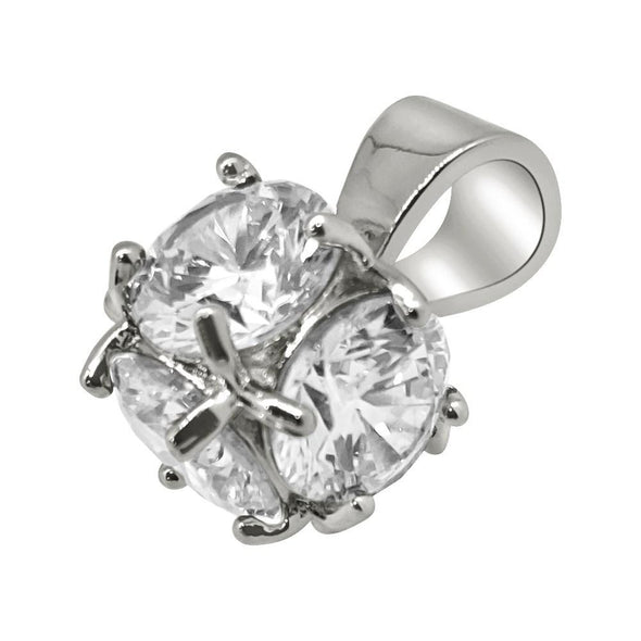 3D CZ Diamond Rhodium Bling Bling Pendant