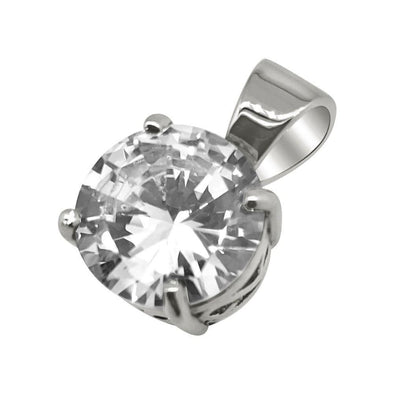 .925 Silver 25MM CZ Solitaire Rhodium Bling Bling Pendant (Free 36 Inch Bead Chain)