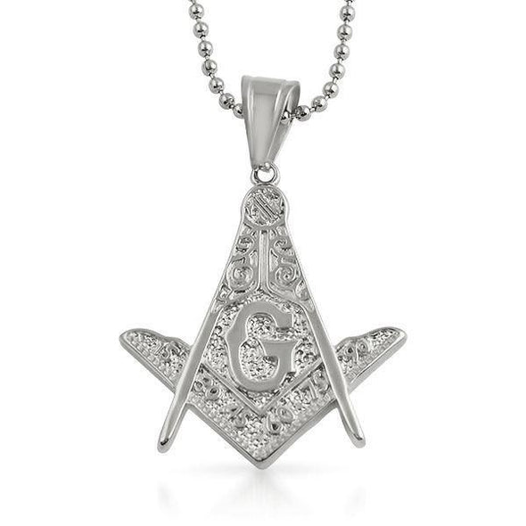 Masonic Detailed Medium Free Mason Pendant Stainless Steel
