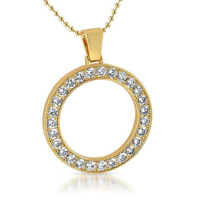 Circle 41MM Bezel CZ Bling Bling Gold Pendant (Free 36 Inch Bead Chain)