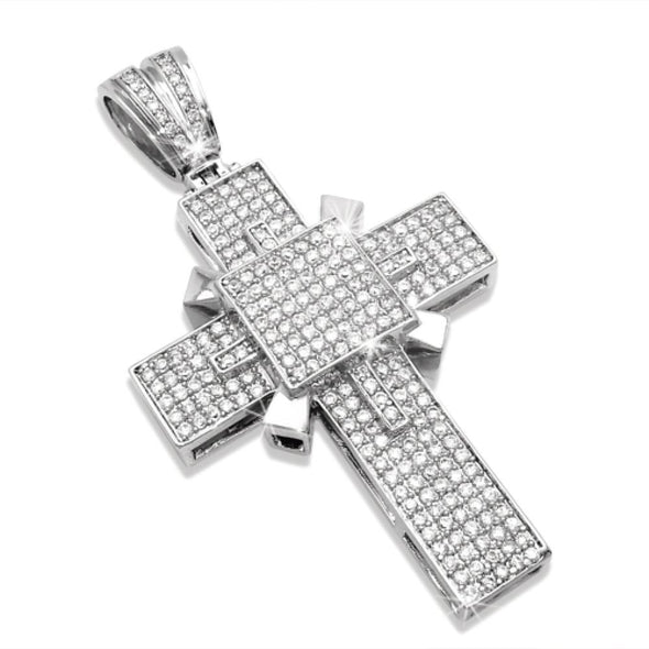 Killer Bling Bling Cross Micro Pave Totally Covered in CZ Ice
