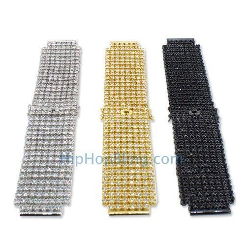 Custom 8 Row CZ Iced Out Watch Band (White)