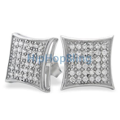 Large Puffed Kite CZ Micro Pave Bling Earrings .925 Silver