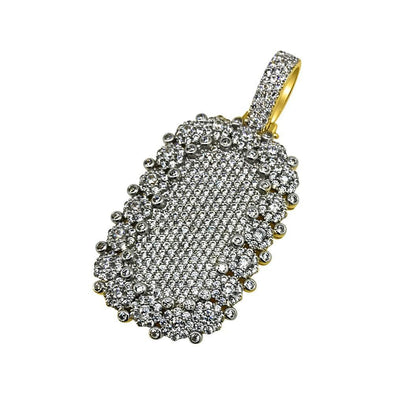 .925 Silver Ice Burst CZ Bling Bling Gold Dog Tag