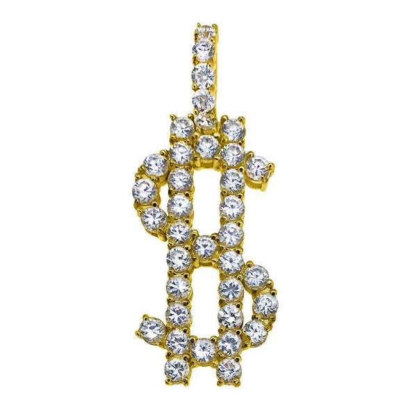 Dollar Sign Bling Bling Pendant 3MM CZ Gold Steel
