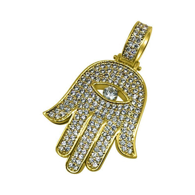 Hamsa Eye CZ Gold Bling Bling Pendant