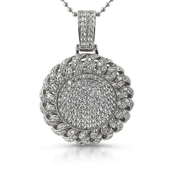 Cuban Bling Bling Medallion Rhodium