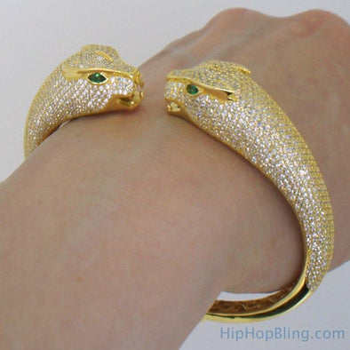 Womens Gold Tiger 3D CZ Bangle .925 Silver
