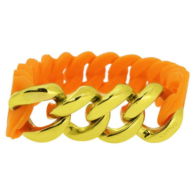 Gold Cuban Orange Rubber Bracelet
