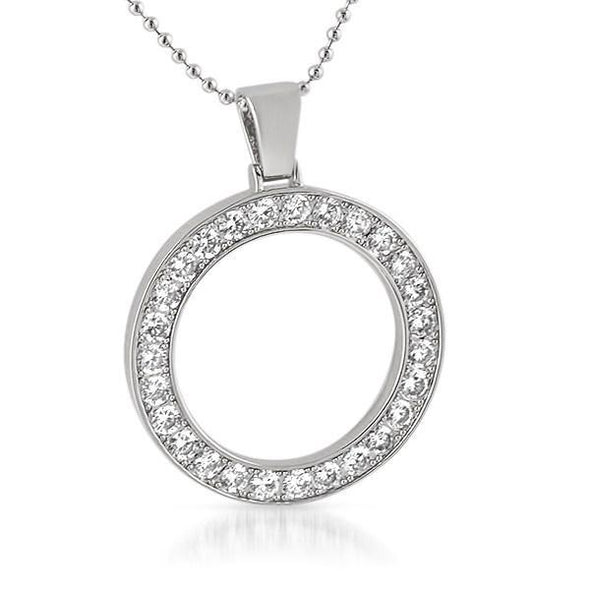 Circle 41MM Bezel CZ Bling Bling Rhodium Pendant (Free 36 Inch Bead Chain)