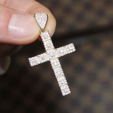 VVS CZ 10K Yellow Gold Mini Block Tennis Cross Pendant